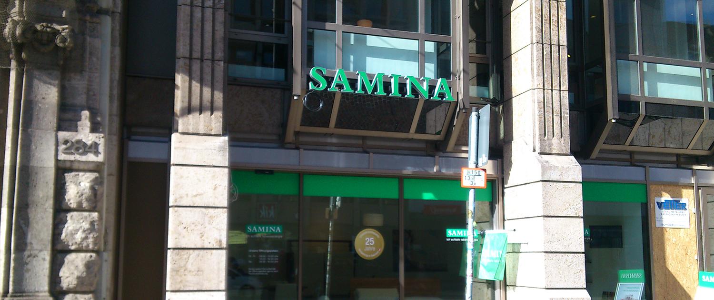Außenwerbung Samina